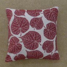 Watson Leaf Cushion Cover - Burgundy Red
