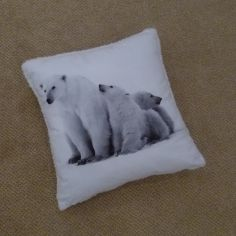 Polar Bears Fluffy Cushion Cover - White