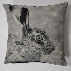 Hare Print Cushion Cover - Black White