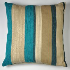 Aspen Striped Chenille Filled Cushion - Teal Blue