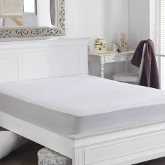 Flannelette Waterproof Mattress Protector - White