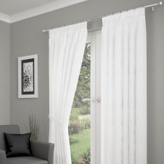 Crushed Fully Lined Voile Curtains - White