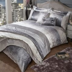 Glitter Crushed Velvet Duvet Cover Set - Mink Natural