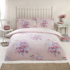 Katie Floral Thermal Flannelette Duvet Cover Set - Blush Pink