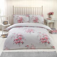 Katie Floral Thermal Flannelette Duvet Cover Set - Grey