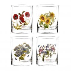 Botanic Garden Double Old Fashioned Tumblers Assorted Motifs Set of Four