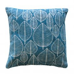 Kirkton Leaf Cushion Cover - Teal Blue