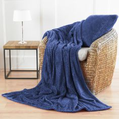 Chevron Microfibre Blanket Throw - Blue