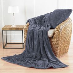 Chevron Microfibre Blanket Throw - Grey