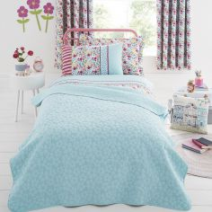 Joy Floral Bedspread Throw - Blue