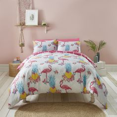 Flamingo Reversible Duvet Cover Set - Pink & Multi