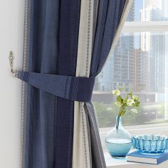 Betley Stripe Unlined Tape Top Curtains - Blue & Multi
