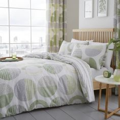 Aslan Circles Reversible Stripe Duvet Cover Set - Green & Multi