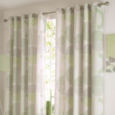 Aslan Circles Thermal Lined Eyelet Curtains - Green