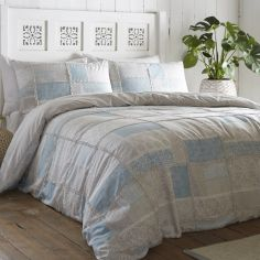 Appletree Surat Patchwork 100% Cotton Duvet Cover Set - Blue