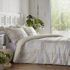Appletree Surat Patchwork 100% Cotton Duvet Cover Set - Natural