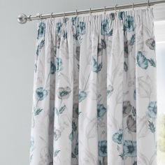 Fliss Floral Tape Top Blackout Curtains - Teal Blue