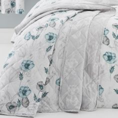 Fliss Floral Quilted Bedspread - Teal Blue