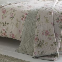 Lorena Floral Quilted Bedspread - Blush Pink