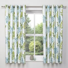Kew Floral Leaf Eyelet Blackout Curtains - Teal Blue