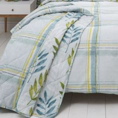 Kew Check Leaf Bedspread - Teal Blue