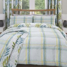 Kew Check Leaf Duvet Cover Set - Teal Blue