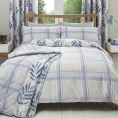 Kew Check Leaf Duvet Cover Set - Lilac