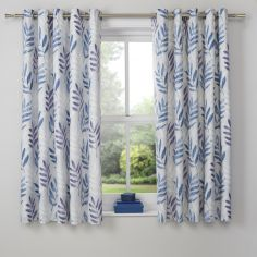 Kew Floral Leaf Eyelet Blackout Curtains - Lilac