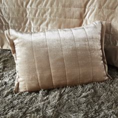 Laurel Crushed Velvet Boudoir Cushion Cover - Champagne Gold