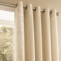 Claudia Floral Eyelet Thermal Lined Curtains - Natural Cream