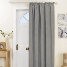 Kent Thermal Blackout Tape Top Door Curtain - Silver Grey