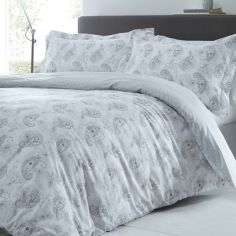 Hestia Paisley 300 Thread Count Duvet Cover Set - Silver Grey