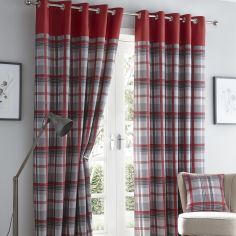 Orleans Check Fully Lined Eyelet Curtains - Red