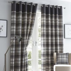 Orleans Check Fully Lined Eyelet Curtains - Charcoal Grey