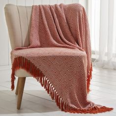 Ascot 100% Cotton Throw With Geometric Pattern - Terracotta Orange