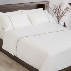 Hotel Collection 200TC 100% Cotton White Duvet Cover Set With Grey Cord Stitch