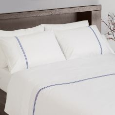 Hotel Collection 200TC 100% Cotton White Housewife Pillowcases With Navy Cord Stitch