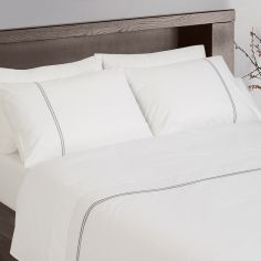Hotel Collection 200TC 100% Cotton White Housewife Pillowcases With Grey Cord Stitch