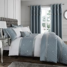 Catherine Lansfield Sequin Cluster Duvet Cover Set - Duck Egg Blue