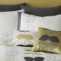 Catherine Lansfield Embroidered Scandi Leaf Super Cushion Cover - Ochre Yellow