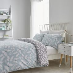 Catherine Lansfield Butterfly Reversible Duvet Cover Set - Duck Egg Blue