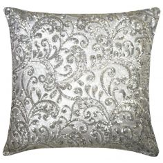 Kylie Minogue Cadence Sequins Satin Filled Cushion - Silver Grey