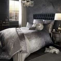 Kylie Minogue Gia Quilted Velvet Duvet Cover - Ombre Grey