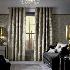 Kylie Minogue Grazia Fully Lined Eyelet Curtains - Praline