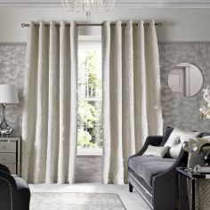 Kylie Minogue Grazia Fully Lined Eyelet Curtains - Oyster Cream