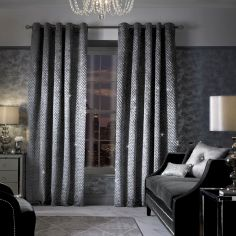 Kylie Minogue Grazia Fully Lined Eyelet Curtains - Silver Grey