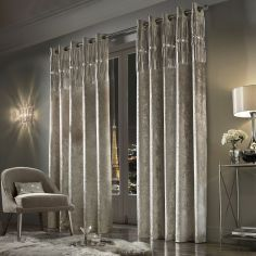 Kylie Minogue Veda Crushed Velvet Fully Lined Eyelet Curtains - Praline