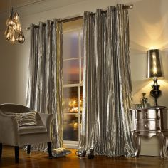 Kylie Minogue Iliana Velvet Fully Lined Eyelet Curtains - Praline