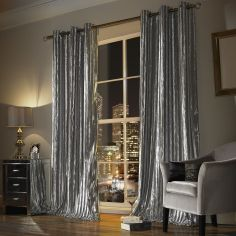 Kylie Minogue Iliana Velvet Fully Lined Eyelet Curtains - Silver Grey