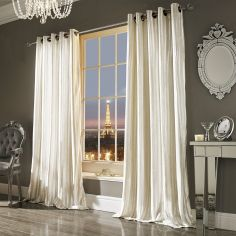 Kylie Minogue Iliana Velvet Fully Lined Eyelet Curtains - Oyster Cream